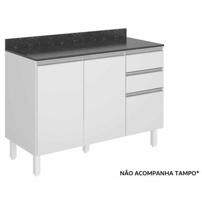 Balcão sem Tampo 120cm 2 Portas 3 Gavetas 3074.16 100% MDF Kali Premium Branco - Nicioli
