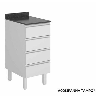Balcão sem Tampo 40cm 4 Gavetas 100% MDF Kali Premium 3084.16 Branco - Nicioli