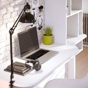 Bancada de Estudo Suspensa Lilac Branco Texturizado - Colibri