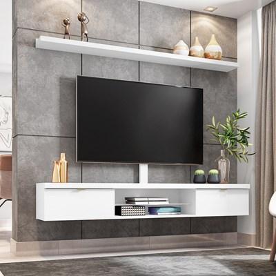 Bancada Suspensa 180cm com Prateleira e Suporte para Tv até 60 Pol. Easy H01 Branco - Mpozenato