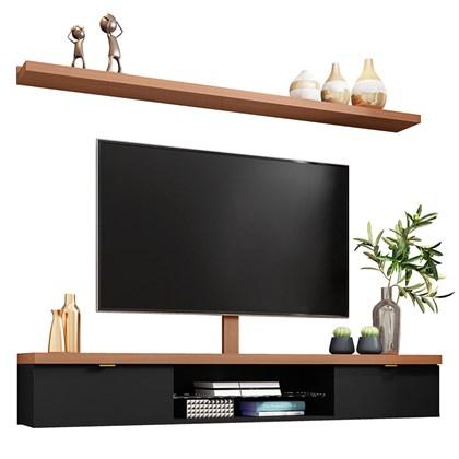 Bancada Suspensa 180cm com Prateleira e Suporte para Tv até 60 Pol. Easy H01 Preto/Nature - Mpozenato