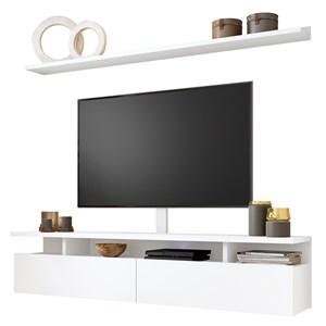 Bancada Suspensa 180cm com Prateleira e Suporte para Tv Até 60 Pol. Light H01 Branco - Mpozenato