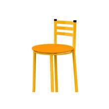 Banqueta Alta com Encosto Amarelo e Assento Laranja - Marcheli
