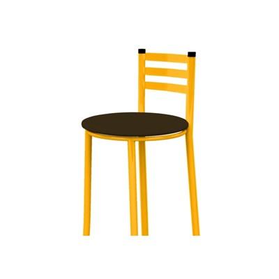 Banqueta Alta com Encosto Amarelo e Assento Marrom Escuro - Marcheli
