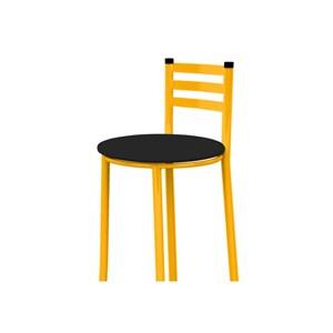 Banqueta Alta com Encosto Amarelo e Assento Preto - Marcheli