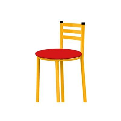 Banqueta Alta com Encosto Amarelo e Assento Vermelho - Marcheli