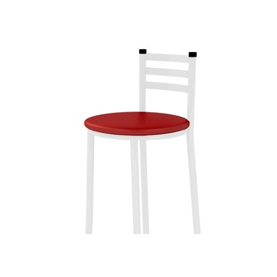 Banqueta Alta com Encosto Branco com Assento Corano Vermelho - Marcheli