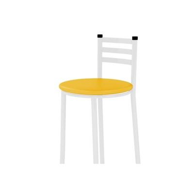Banqueta Alta com Encosto Branco com Assento Corino Amarelo - Marcheli