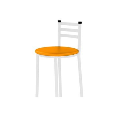 Banqueta Alta com Encosto Branco com Assento Corino Laranja - Marcheli