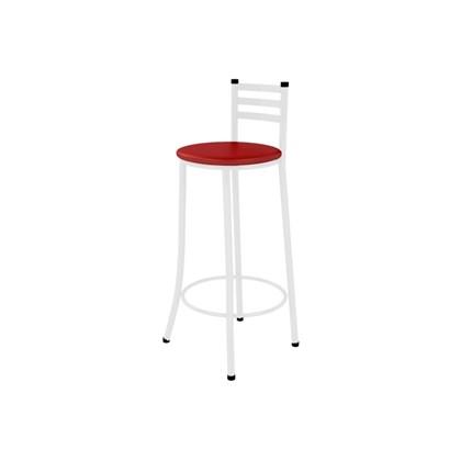 Banqueta Alta com Encosto Branco com Assento Corino Vermelho - Marcheli