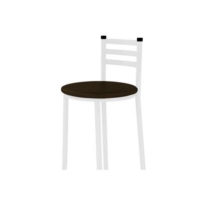 Banqueta Alta com Encosto Branco com Assento Marrom Escuro - Marcheli