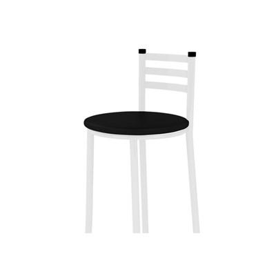 Banqueta Alta com Encosto Branco com Assento Preto - Marcheli