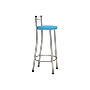 Banqueta Alta com Encosto Cromado e Assento Azul - Marcheli