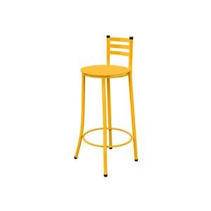 Banqueta Alta com Encosto e Assento Amarelo - Marcheli