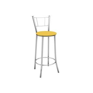 Banqueta Alta com Encosto Maior Cromado e Assento Amarelo - Marcheli