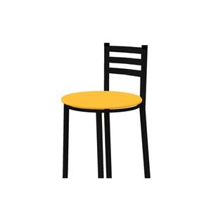 Banqueta Alta com Encosto Preto com Assento Amarelo - Marcheli