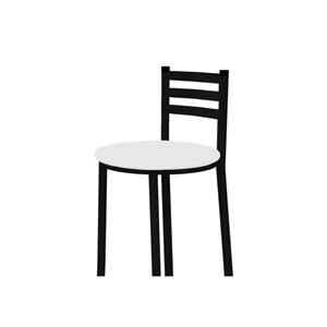 Banqueta Alta com Encosto Preto com Assento Branco - Marcheli