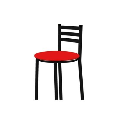Banqueta Alta com Encosto Preto com Assento Corino Vermelho - Marcheli