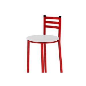 Banqueta Alta com Encosto Vermelho e Assento Branco - Marcheli