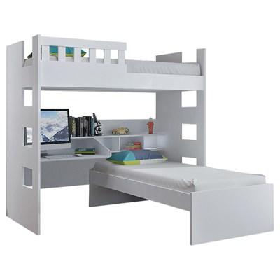 Beliche Multifuncional com Escrivaninha Escada Bilateral Faces F04 Branco - Mpozenato
