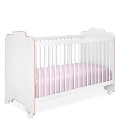 Berço com Rodízios Ternura Certificado pelo Inmetro Branco/Rosa - PN Baby