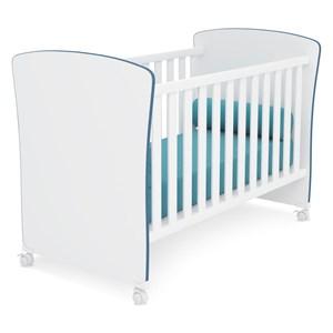 Berço Mini Cama 2484 Doce Sonho Branco/Azul - Qmovi