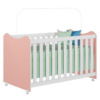 Berço Mini Cama com Rodízios Certificado pelo Inmetro Cristal Rosê/Branco - PN Baby