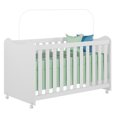 Berço Mini Cama com Rodízios Cristal Branco - PN Baby