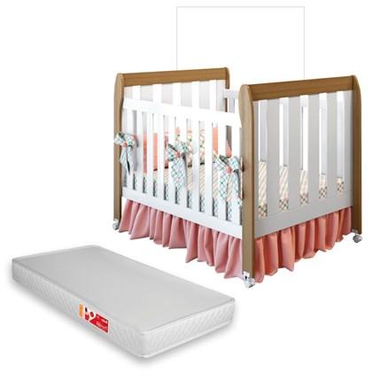Berço Mini Cama Lollipop com Colchão D18 Inmetro Almendra/Branco - Móveis Estrela
