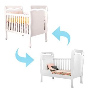 Berço Mini Cama Nanda com Rodízios Branco - Carolina Baby
