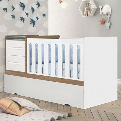 Berço Multifuncional Premium Amêndoa/Branco - Planet Baby