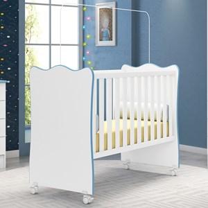 Berço Simples Doce Sonho Branco com Azul - Qmovi