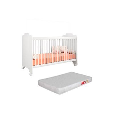 Berço Ternura com Colchão D18 Certificado pelo Inmetro Branco - PN Baby