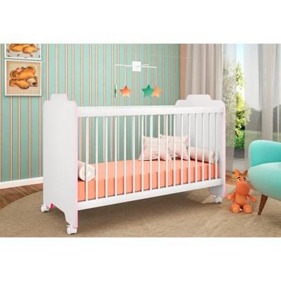 Berço Ternura com Colchão D18 Certificado pelo Inmetro Branco/Rosa - PN Baby