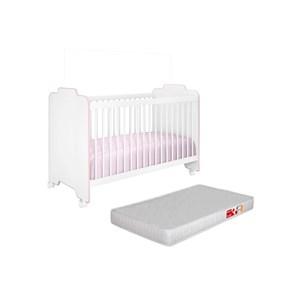Berço Ternura com Colchão D18 Inmetro Branco/Rosa - PN Baby