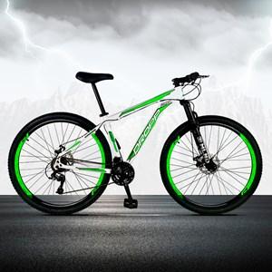 Bicicleta Aro 29 Quadro 15 Alumínio 21 Marchas Freio a Disco Mecânico Branco/Verde - Dropp