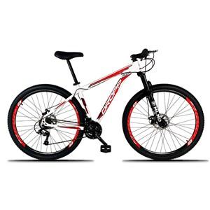 Bicicleta Aro 29 Quadro 15 Alumínio 21 Marchas Freio a Disco Mecânico Branco/Vermelho - Dropp