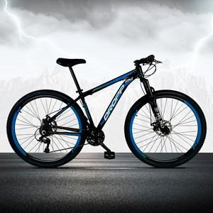 Bicicleta Aro 29 Quadro 15 Alumínio 21 Marchas Freio a Disco Mecânico Preto/Azul - Dropp