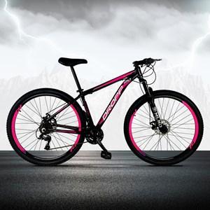 Bicicleta Aro 29 Quadro 15 Alumínio 21 Marchas Freio a Disco Mecânico Preto/Rosa - Dropp