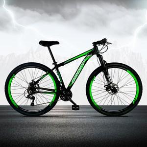 Bicicleta Aro 29 Quadro 15 Alumínio 21 Marchas Freio a Disco Mecânico Preto/Verde - Dropp