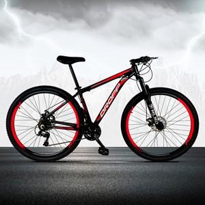 Bicicleta Aro 29 Quadro 15 Alumínio 21 Marchas Freio a Disco Mecânico Preto/Vermelho - Dropp