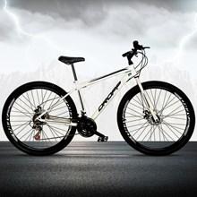 Bicicleta Aro 29 Quadro 17 Aço 21 Marchas Freio a Disco Mecânico Branco/Preto - Dropp