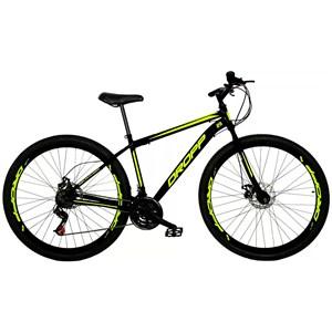 Bicicleta Aro 29 Quadro 17 Aço 21 Marchas Freio a Disco Mecânico Preto/Amarelo - Dropp