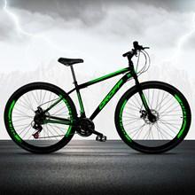 Bicicleta Aro 29 Quadro 17 Aço 21 Marchas Freio a Disco Mecânico Preto/Verde - Dropp
