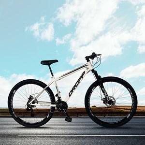 Bicicleta Aro 29 Quadro 17 Aço 21 Marchas Suspensão Freio a Disco Mecânico Branco/Preto - Dropp