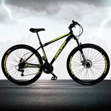 Bicicleta Aro 29 Quadro 17 Aço 21 Marchas Suspensão Freio a Disco Mecânico Preto/Amarelo - Dropp