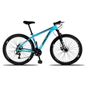 Bicicleta Aro 29 Quadro 17 Alumínio 21 Marchas Freio a Disco Mecânico Azul/Preto - Dropp