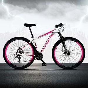 Bicicleta Aro 29 Quadro 17 Alumínio 21 Marchas Freio a Disco Mecânico Branco/Rosa - Dropp
