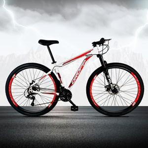 Bicicleta Aro 29 Quadro 17 Alumínio 21 Marchas Freio a Disco Mecânico Branco/Vermelho - Dropp