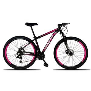 Bicicleta Aro 29 Quadro 17 Alumínio 21 Marchas Freio a Disco Mecânico Preto/Rosa - Dropp